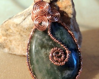 Green Jasper and Copper Teardrop Pendant, Copper and Green, Handcrafted Jewelry, Copper Wire Wrap Pendant, Boho Jewelry, Rustic Style