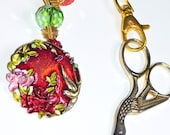 Cross Stitch, Needlepoint Scissor Fob Keyring  - Red, Flowers Charm Pendant Keyring