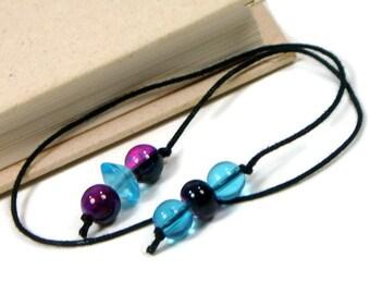 Beaded Bookmark Aqua Blue Purple Book Book Thong Cord String Bookmark Gift under 5 Book Club Teacher Gift