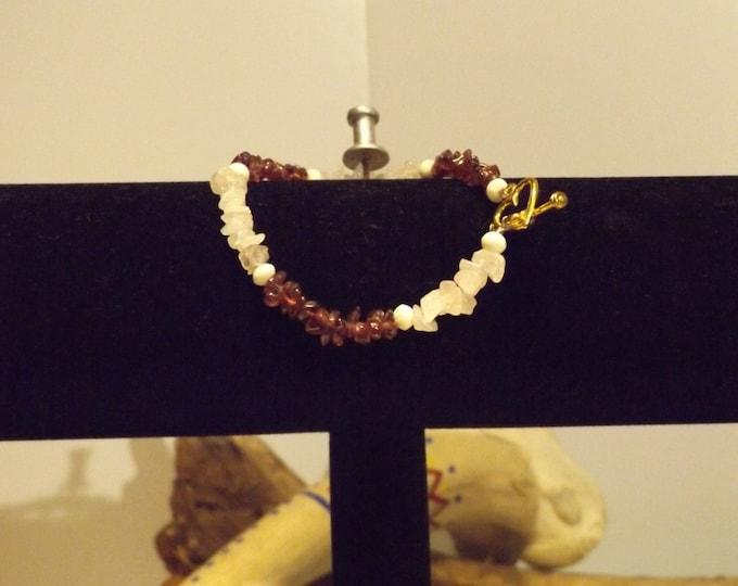 Rose Quartz Crystal and Garnet Healing Bracelet, Healing Crystal and Gemstone Jewelry, Healing Jewelry, Healing Crystal and Stones