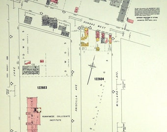 1964 Vintage Map of Etobicoke - Toronto - Insurance Maps - Dundas West - Humbercrest - Sheets 1203 and 1204-1