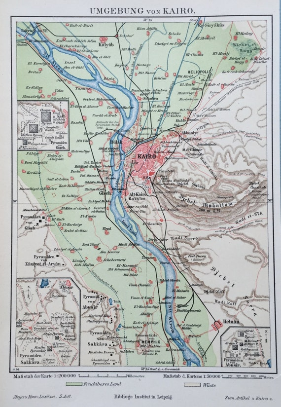 1895 German Vintage Map of the Environs of Cairo, Egypt - Old Map of Cairo