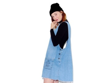 OMG HALF OFF adorable Oversized Overall Dress / 90s overalls denim dress jean dress ripped jeans raw hem distressed tunic dress jumper