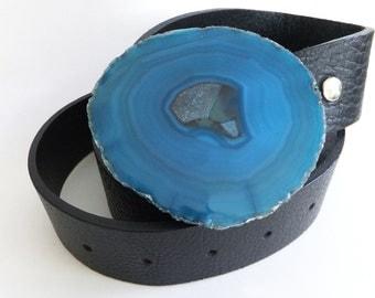 Blue Kaleidoscope Agate Belt Buckle
