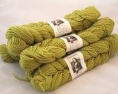 Classic Elite Yarns Renaissance, Peruvian Wool Yarn, Worsted Weight Pale Lime Green Knitting Wool, Destash Yarn, Six Skeins, Matching Dyelot