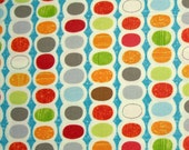COUPON CODE SALE - End of Bolt - Moda, Mod Century, Turquoise, Jenn Ski, 100% Cotton Quilt Fabric, Multicolor Fabric, Polka Dot, Quilting