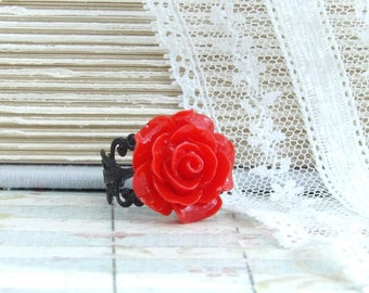 Gothic Ring Red Rose Ring Black And Red Ring Red Flower Ring Victorian Ring Red Floral Ring Goth Ring