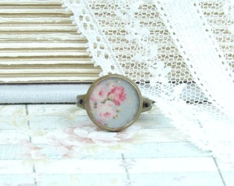 Pink Flower Ring Shabby Chic Ring Pink Rose Ring Dainty Ring Pink Floral Ring Pink Rose Jewelry