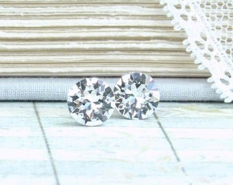 Clear Crystal Earrings 8mm Studs Solitaire Earrings Large Crystal Studs April Birthstone Surgical Steel
