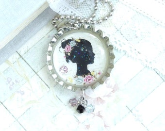 Silhouette Necklace Cameo Necklace Victorian Necklace Bottle Cap Necklace Cameo Pendnat Necklace