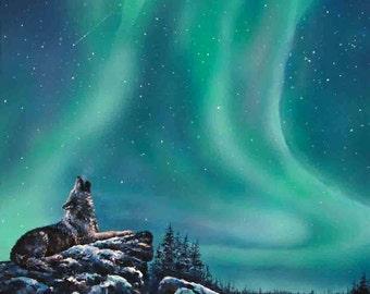 Grey Wolf Original Painting,Wolf Painting,Landscape ,Green Northern Lights, Wildlife art, Blue Aurora Borealis, Expressionism, Modern Art,