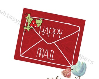 Christmas Happy Mail stickers - set of 50 Red 1.5 X 1.75""