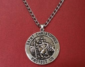 St Christopher Necklace Pendant and Stainless steel Chain TRAVEL Saint