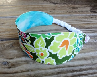 Wide Fabric Headband with Elastic: Green Retro Floral Print