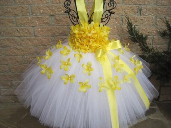 White Yellow Flowers White Tutu Dress Yellow Tutu Dress