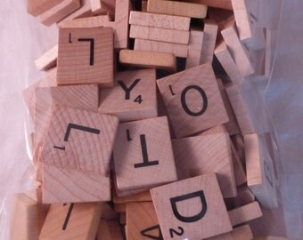Lot 150 Wood Scrabble tiles