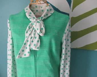 Vintage 60s Kay Windsor Dress Green Polka Dot sz M Medium