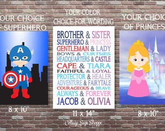 Brother and Sister,Superhero and Princess,Set,DIY Printable,Personalized Brother and Sister Art,JPG DOWNLOAD, Custom Brother and Sister Art,