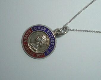 Silver pendant charm Queen Elizabeth II silver jubilee 1977 enamel vintage sterling