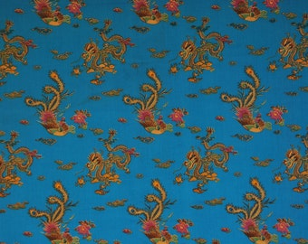 """Japanese Dragon and Rooster Print on Teal 58""""x40"""""""