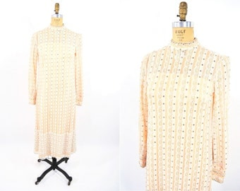 1960s dress vintage 60s creamsicle lace rhinestone party dress XS/S