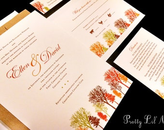 Fall Tree Custom Unique Wedding Invitation Pine Oak Outdoor Maple Leaves Forest Summer Fall Winter Leaves Forest Nature Kraft Autumn Modern