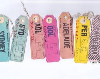 Lor of 7 Vintage Ansett Airlines Australia Baggage / Luggage Tags Labels | Travel Ephemera | Airline Ephemera