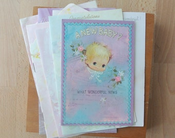 Vintage Used Baby Girl Cards Lot of Cute 1970s Cards Great for Crafting