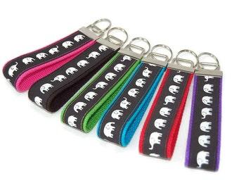 Elephant Keychain - You pick color Fabric Key Fob Wristlet