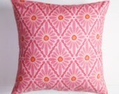 """Throw Pillow Cover, Floral Diamond in Rose Throw Pillow, Pink Pillow, Accent Pillow, Decorative Cushion, Valorie Wells Fabric, 16x16"""" Square"""