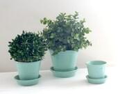 Trio of Pfaltzgraff Turquoise Aqua Teal Pottery Stoneware Flower Pots Planters