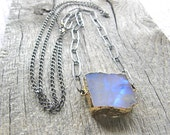 Extra Long Rough Cut Moonstone Slab Necklace, Large Link Sterling Silver Chain and Stone Specimen Necklace
