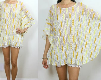Vintage Upcycled Ivory Yellow Abstract Stripe Sheer Boho Caftan Top or Mini S/M