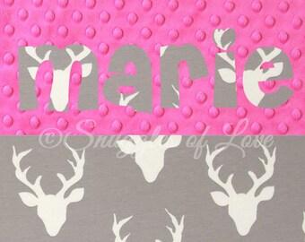 Girls Deer Blanket - Personalized Deer Baby Blanket - Personalized Baby Blanket, Gray Deer Buck Blanket, Grey and Pink Blanket, Name Blanket