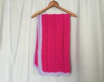 Pink Blanket Small Afghan Crichet Knit Lavender Purple Edge Vintage Magenta  Sofa Back Cover Home Decor