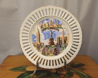 New York City Plate Gold Vintage White Gold Ceramic Souvenir State Plates Travel