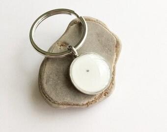 poppy seed keychain - round silver resin seed of faith key chain - faith key ring - faith as small as a seed - gifts under 15 - faith