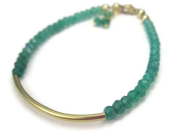 Shaded Green Gemstone Bracelet 14K Gold Filled Ombre Beaded Tube May Birthday Emerald Onyx