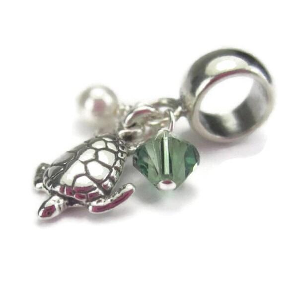 Sea Turtle Charm, European Bracelet, Sterling Silver, Beach Charm, Ocean Animal, Hawaii Florida
