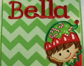Christmas Elf Girl and Boy Boxes with Embroidered Name - Iron On or Sew On Embroidered Custom Made - SHIPS FAST