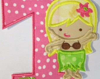 Birthday Set - Hula Girl Iron On or Sew On Embroidered Custom Made Applique