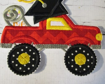 Graduate Monster Truck - Iron On or Sew On Embroidered Applique