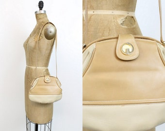 80s Gucci Shoulder Bag / 1980s Vintage Two Tone Leather Handbag  / The Valley Purse