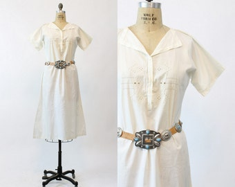 20s Cotton Dress Small / 1920s Vintage White Cotton Nightgown / Summer Nights Frock