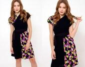 Vintage 40s WRAP Dress Criss Cross Dress BRIGHT Printed Mini Dress Short Sleeve Rockabilly Dress Belted Dress