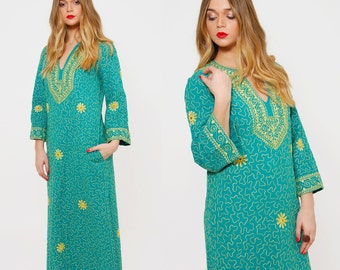 Vintage 70s EMBROIDERED Caftan RAMONA RULL Boho Dress Aqua Indian Cotton Hippie Dress Ethnic Caftan