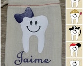 """Tooth Fairy Bag - Personalized Tooth Fairy Pouch - Tooth Holder - Coin Purse - Money Holder - Keepsake Baby Tooth - 3""""x 4"""" Drawstring Bag -"""