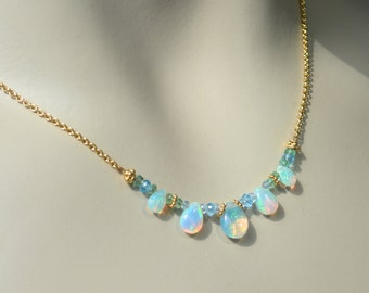 Welo Ethiopian Opal Necklace with Emerald and Blue Topaz