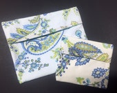 Set of 2 MamaBear Tuckables Pouches- Cloth Menstrual Pads, Wipes, Snacks and more - Vintage Paisley