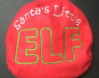 Christmas MamaBear One Size Fleece Diaper Cover - Santa's Little Elf